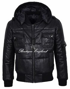 Mens Puffers Hooded Jacket BLACK REAL LEATHER Bubble Bomber Hoodie Jacket Pilot6