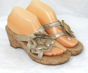 Merona-Women-039-s-Beige-Floral-Cork-Wedge-Sandals-Size-8