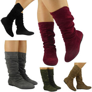 Womens Mid Calf Boots Rouched Flat Pull On Ladies Slouch Causal Comfy Shoes Size