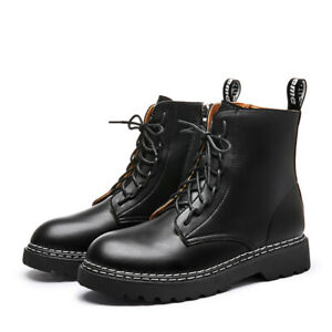 martens boots black platform genuine leather shoes female