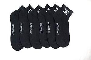6-Pack-Mens-DC-Shoes-Black-Quarter-Crew-Socks-White-Logo