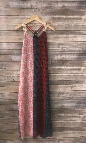New Nitrogen Women/'s Sleeveless Maxi Mixed print long dress boho size Small