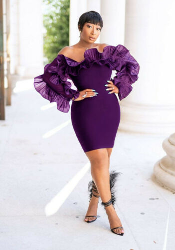 Women Long Sleeves Boat Neck Ruffled Bodycon Club Party Cocktail Pencil Dress