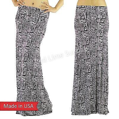 Women Fashion Black White Aztec Tribal Ethnic Print Foldover Long Maxi Skirt USA