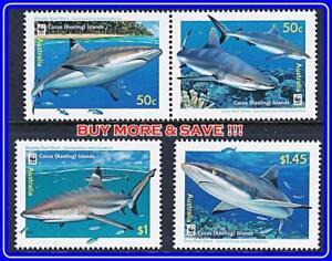 AUSTRALIA-COCOS-IS-2005-WWF-SHARKS-MNH-FISH-MARINE-LIFE