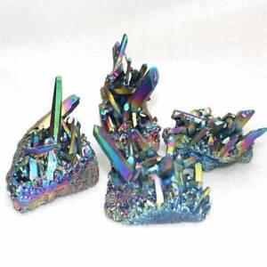 Natural-Quartz-Crystal-Rainbow-Titanium-Cluster-VUG-Mineral-Specimen-Healing-Hot