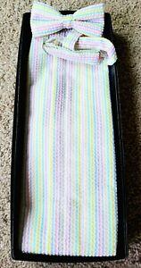 Gentlemen-039-s-White-Pastel-Stripe-Seersucker-Cotton-Summer-BowTie-Cumberbund-Set