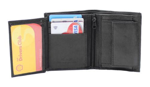Piccolo RFID Real Leather Wallet Men caso titolare della carta di credito portamonete 48 Nero