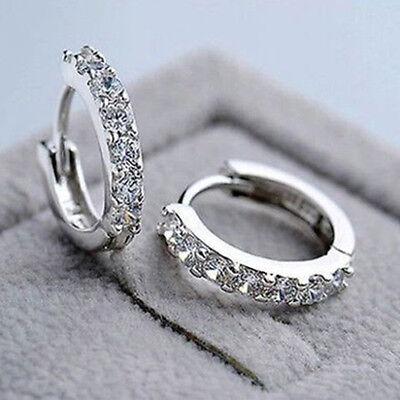 Fashion Women Jewelry White Gemstones Crystal Sterling Silver Hoop Earrings