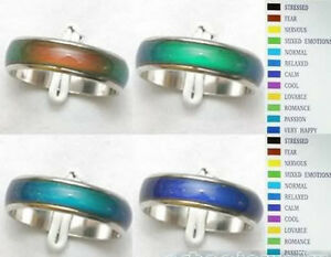 Details About 10pcs Whole Lots Emotion Feeling Change Color Emotional Mood Rings Jewelry