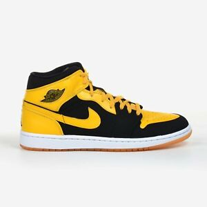 sneakers for cheap 0cb4d 6d2ab Image is loading Air-Jordan-1-Retro-Black-Maize-White-Size-