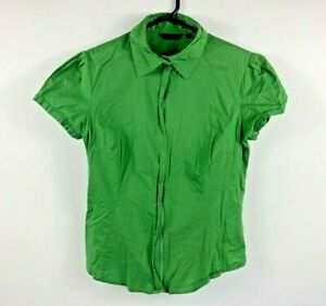 CUE-Women-039-s-Zip-Short-Sleeve-Top-Size-10-Green-Casual-Business-Attire-RRP-89-99