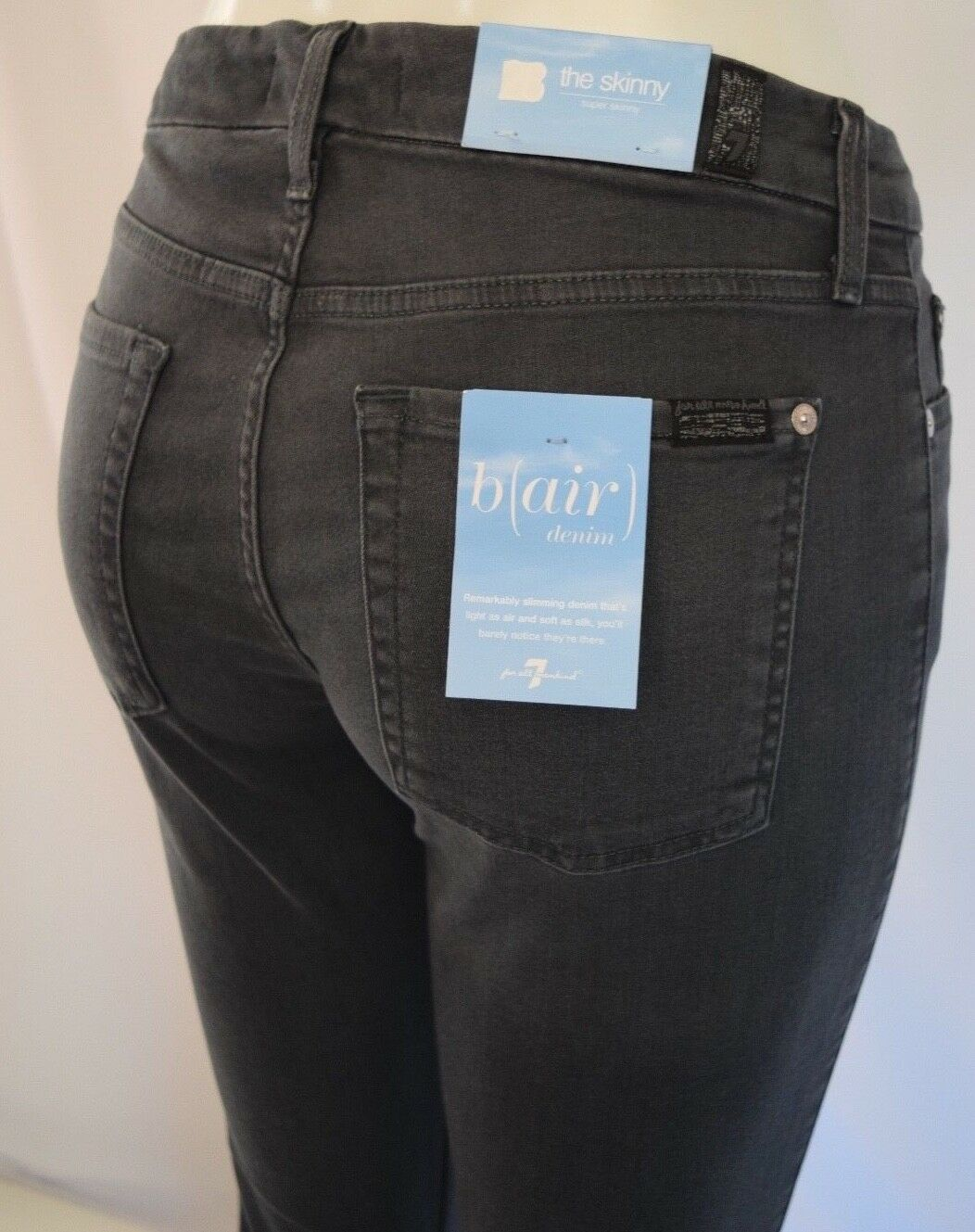 Seven 7 For All Mankind B(AIR) THE SKINNY Jean Woman SZ 28 in SMOKE dark grey
