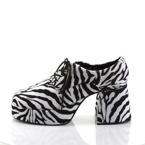 a7616940db6 Details about Black White Zebra Fur Platform 70s Pimp Disco Party Costume  Shoes Mens 8 9 10 11