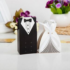 Nice-100pcs-Tuxedo-Dress-Groom-Bridal-Wedding-Favor-Gift-Candy-Boxes-Ribbon