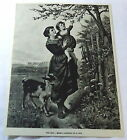 1886 magazine engraving~ THE PETS- painting by R Epp, woman w/ child & baby goat