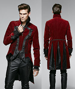 Goth Punk Rave Jacket Mens red Coat red black Tuxedo Tailcoat ...