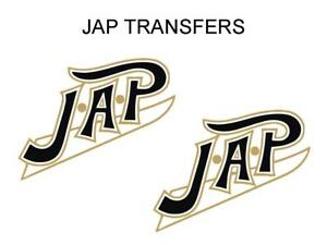 JAP-Tank-Transfers-Decals-Set-Motorcycle-Sold-as-a-Pair-Gold-Black