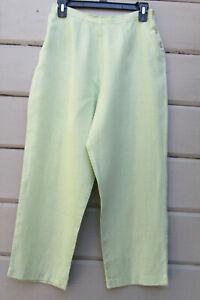 Details about PA Company Boston Wms S 100% Linen Citron Green Cropped Pants