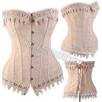 Sexy Bustier Corset Burlesque Basque lingerie Rouge Boned Lace up Size UK 6-24