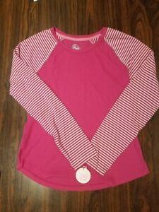 SO-Long-Sleeve-2-Shirts-Girls-Sz-14-Pink-Striped-NWT-amp-Aqua-Striped-NWOT