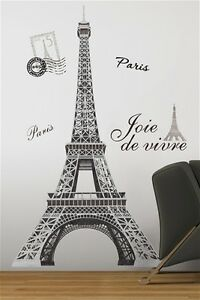 EIFFEL-TOWER-Paris-wall-stickers-MURAL-decals-55-inches-tall-room-decor
