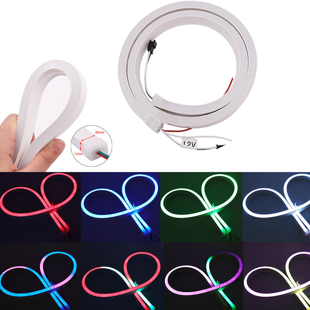 5V 12V RGB Neon Flexible LED Rope Flat Light Strip Holiday Party Valentine Decor