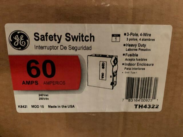 Th4322 Ge 60 Amp 240v 3 Phase 4 Wire Fused Nema 1 Indoor