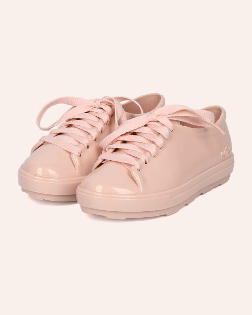 New Girl Mel Dreamed By Melissa Mel Be PVC Lace Up Round Toe Low Top Sneaker