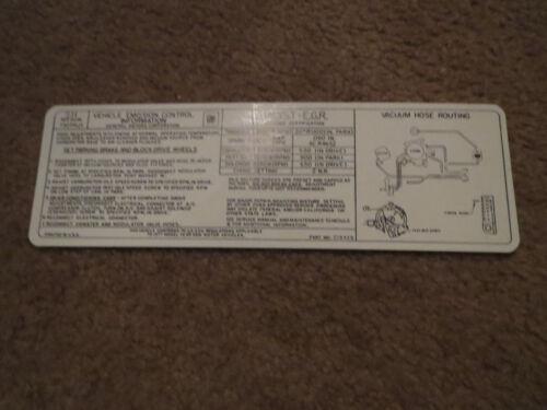 "1977 OLDSMOBILE CUTLASS 442 88 98 TORONADO 403 ENGINE EMISSIONS DECAL ""SH"""