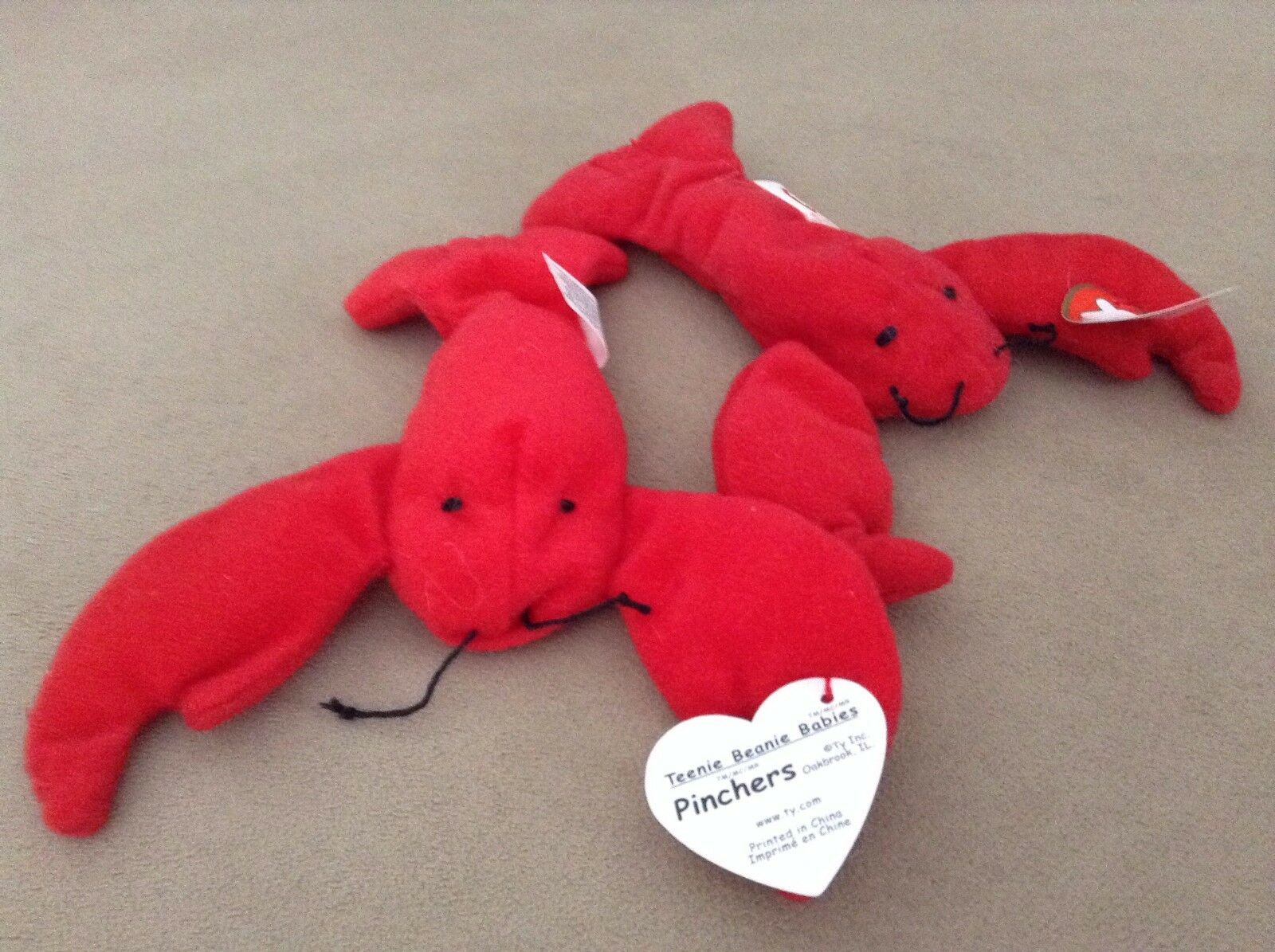 NWT Attached   Set of TWO  Ty Ty Ty  Teenie Beanie Babies Lobsters    Pinchers   cb6566