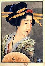 Portrait of a Woman Holding a Fan Hokusai 9x6 Inch Print Japan