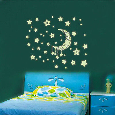 Glow In The Dark Wall Stickers Home Bedroom Decor - Luminescent - Moon and Stars