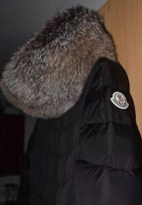 en soldes cb4db f97cc Détails sur Haut femme MONCLER Down Long Veste Manteau avec renard  véritable bordure en fourrure Taille 1 UK 8/10- afficher le titre d'origine