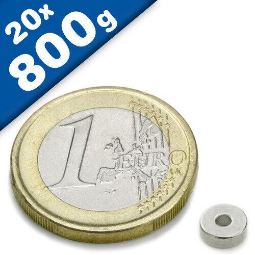 20 x Aimant Anneau magnétique Ø 6//3 x 2,5 mm Néodyme N42 diamétralement