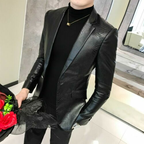 Men/'s Leather Biker Casual Jacket Slim Fit Motorcycle Blazer Coat Outwear Tops