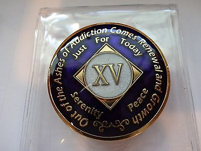 NA Purple Glitter Coin 27 Year Tri-Plate Narcotics Anonymous Medallion CaseStand