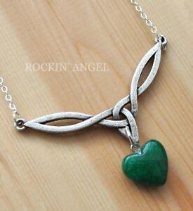 Antique-Silver-Plt-Celtic-Knot-V-Pendant-amp-Jade-Heart-Necklace-Ladies-GIft-Reiki