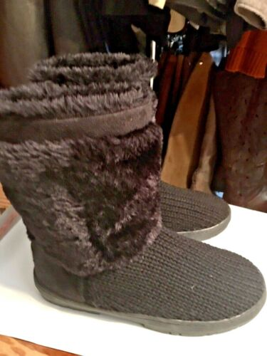 HOLLY BOOTS, SZ 41/ 10, BLACK CARDIE BOOTS W/ FAUX
