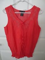 Simply Irresistible Ladies Lightweight Poppy Red Blouse W/embroidery-sz M-nwt