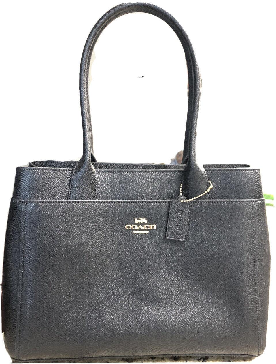 New Coach F31474 Casey Tote Crossgrain Leather handbag Black $398