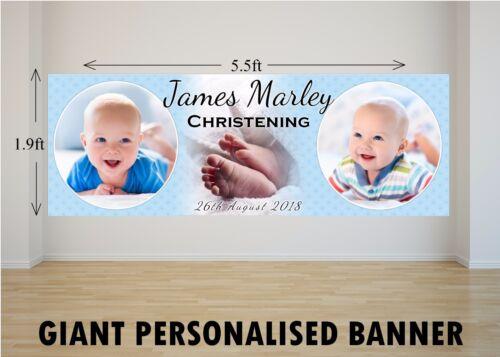 Personnalisé géant grand baptême garçon baptême poster bannière N2