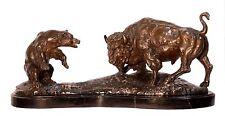 Stier & Bär Bronzefigur Skulptur Marmorsockel H:21,5cm  Bull and Bear Sculpture
