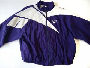 Vtg 90s Reebok Windbreaker Jacket Big Logo Purple white Full zip men's 2XL
