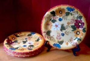 3-1-4-Oneida-Kitchen-Summer-Bouquet-Yellow-Rust-Floral-Dinner-Plates-Handpainted