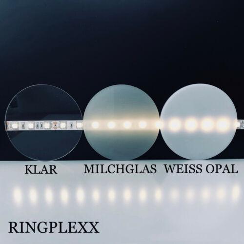 Acrylglas Typ-Milchglas 3mm Stärke Ø50mm-190mm Ronde Deckel Scheibe rund New