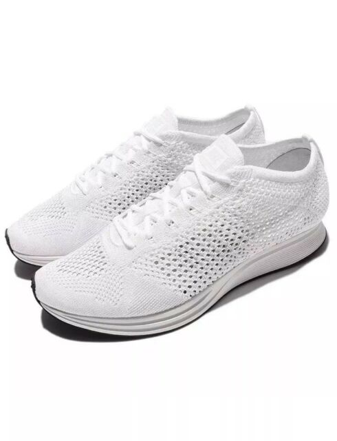 detailed look a298e b2a16 Nike Flyknit Racer Running Shoes Mens 6.5 White Goddess 526628 100