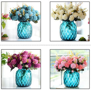 1 bunch 10 head artificial hydrangea silk flower home wedding garden image is loading 1 bunch 10 head artificial hydrangea silk flower mightylinksfo