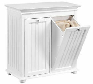 Home Double Wood Tilt Out Laundry Hamper Storage Shelf