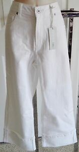 Pantaloni 64 Platinum 5 Crop Denim White Summer Cotton Chico's 0 Capris 50xwqOwa